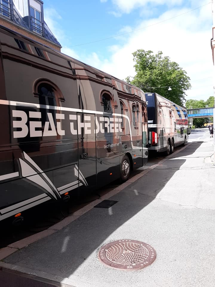 Kristofferson Norway 2019 - Kris' bus in the foreground with the band's bus in view